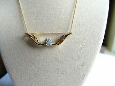 "Charming Real Diamond Cluster Angel Wings 14K Y Gold/925 18"" Necklace"