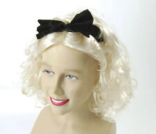 Adult Material Girl 80's eighties Pop Blonde Curly Wig and Bow Fancy Dress
