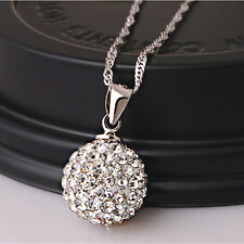 Women Bridal Silver Plated Crystal Rhinestone Disco Ball Pendant Necklace Gift