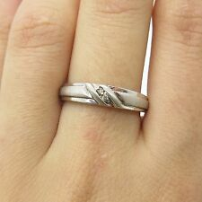 925 Sterling Silver Genuine Diamonds Matte Finish Ribbed Women's Ring Size 7