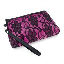 Pink Black Floral Lace Design Make Up Cosmetic Bag Purse with Strap Beauty