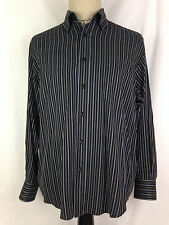 Bugatchi Uomo Mens Button Front Shirt M Black White Gold Striped Long Sleeve