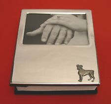 Boxer Dog Motif Silver Plated Photo Album Holds 100 4 x 6 Photos Mum Dad Gift