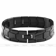 Men's Stainless Steel Bracelet Link Chain Black Classic Cuff Wristband Bangle 8""