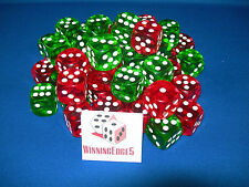 16MM RED AND GREEN ACRYLIC DICE 2 COLORS 12 OF EACH (24 PACK) FREE SHIPPING
