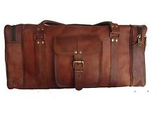 "24""Men's genuine Leather luggage gym weekend overnight duffle bag large vintage"