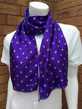 PAUL SMITH PURPLE SILK WITH YELLOW DOG ON BIKE PRINT OBLONG SCARF MADE IN ITALY