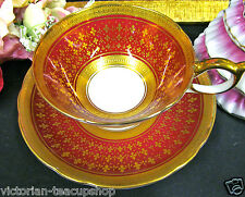 AYNSLEY  TEA CUP AND SAUCER  RED AND ETCHED RAISED GOLD TEACUP ENCRUSTED GOLD