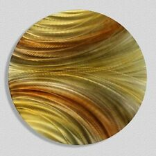 Contemporary Circle Modern Abstract Metal Wall Art Home Decor - Waves of Grain