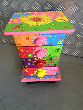 Colourful Hand Painted Wooden Chest With 4 Compartments For Trinkets  PINK & GRN