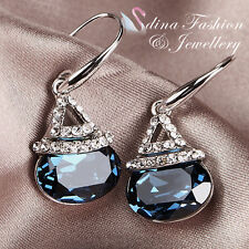 18K White Gold GP Genuine Swarovski Crystals Sapphire Ocean Pool Dangle Earrings