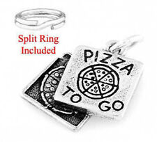 STERLING SILVER PIZZA TO GO BOX W/ SPLIT RING