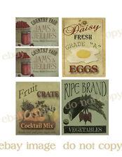 Primitive, Vintage Labels Jelly, Vegs, Eggs   - #FH401