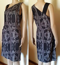 COUNTRY ROAD Size 10 Black/Grey Silk Cocktail Dress