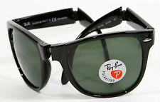 Ray Ban RB 4105 601/58 Folding Wayfarer Black Polarized Sunglasses 54mm New