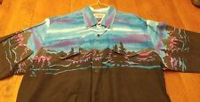 Western Shirt Men's XL Rockabilly Rodeo Country PINE TREES Sky view Vintage Nice