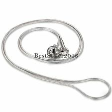 "1mm Silver Stainless Steel Round Snake Necklace Chain 17"" Men's Women's Gift"