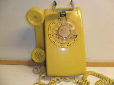 vintage yellow rotary dial wall mount phone western electric bell 554 telephone