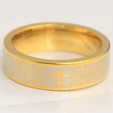 Vintage Womens 9k Gold Filled Carve Holy Bible Cross Band Ring Size 7