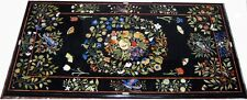 3'x6' Black Marble Dining Table Top Butter Fly Arts Pietra Dura New Pattern Arts