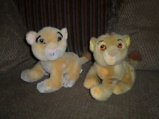 "HTF Vintage 9""  Set Disney Store Lion King Plush NALA & SIMBA Cubs"