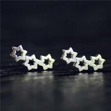 925 Sterling Silver Plated Brushed Cut out Hollow Three Star Stud Earrings Gift