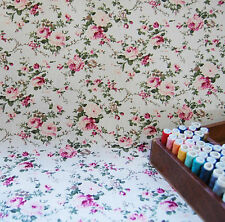 NEW 100% Cotton Fabric Craft Cream Shabby Chic Floral Stripes by the METRE