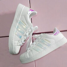 Kids Women's Fashion Leather Casual Lace Up Sneakers Trainer Shoes-Superstar