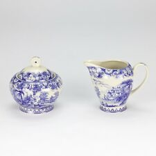 Vintage antique Blue white ornate Sugar & Creamer set high tea  floral porcelain
