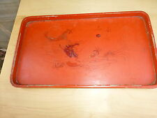 Nice Vintage chinese / japanese lacquer tray, red [Y7-W6-A8-E8]