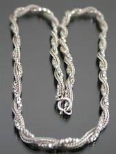 VINTAGE STERLING SILVER FOX & TINSEL LINK NECKLACE CHAIN 15 inch C.1970