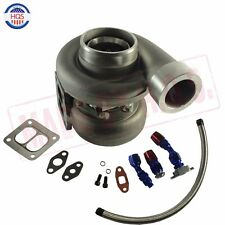 "GT45 600+HP T4 T66 3.5""V-BAND 1.05 A/R 92 TRIM TURBO CHARGER+OIL FEED+DRAIN LINE"