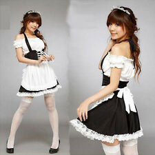 Sexy Lolita Maid Outfit Cosplay Halloween Costume Fancy Dress Uniform Lace dress