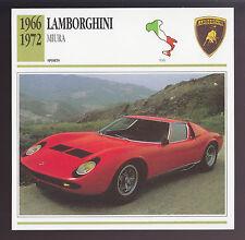 1966-1972 Lamborghini Miura Car Photo Spec ATLAS CARD 1967 1968 1969 1970 1971