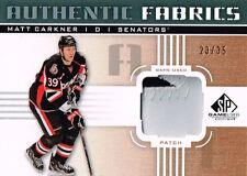 11-12 SP Game Used Authentic Fabrics PATCH xx/35 Made! Matt CARKNER  Senators