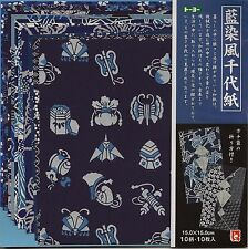Japanese Blue Aizome Washi Origami Paper 6 inches10 Sheets #2137 S-3606
