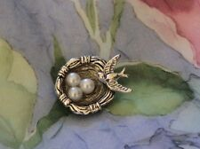 "Adorable Vintage Silver 1"" Shank Button""Tiny Sparrow Bird Nest and Pearl Eggs"""