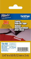 """Brother TZe-FA3 1/2"""" (12mm) Fabric Iron-On P-touch Tape for PT2100, PT-2100"""