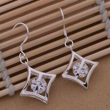 Ladies 925 Sterling Silver Cube & Crystal Fashion Retro Drop Dangle Earrings