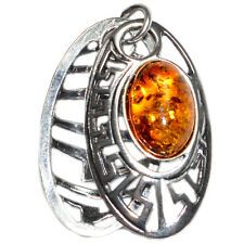 3.6g Authentic Baltic Amber 925 Sterling Silver Pendant Jewelry A614