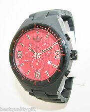 NEW ADIDAS CAMBRIDGE ACRYLIC MATTE BLACK BAND+RED CHRONO WATCH+DATE ADH2623