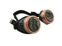 STEAMPUNK CYBER GOGGLES BLACK ANTIQUE COPPER WATCH MOVEMENT CYBERGOTH COSPLAY