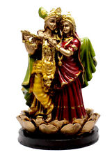 Indian Hand Carved Beautiful Krishna Radha Resin Idol Sculpture Statue 8 Inches