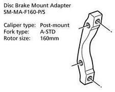 Shimano Disc Brake Adapter SM-MA-F160-PS Front 160mm Rotor Post/A-STD Mount