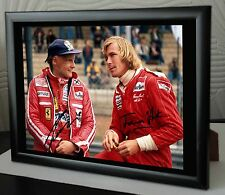 "James Hunt & NIKI LAUDA F1 ""RUSH"" rare impression toile encadrée signée."