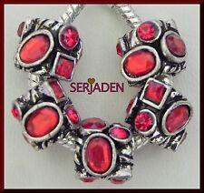 5 Multi Shape Red Stones Antique Silver fits Charm Bracelets & Necklaces R187