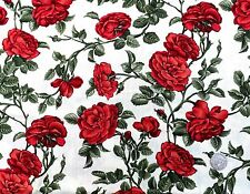 Trad. Red Rose on cream fabric 1 mtr x 112cm 100% Cotton Fabric Freedom F951- 5