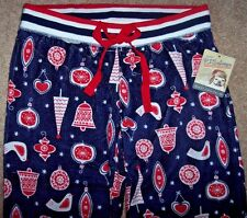NWT PJ Salvage Navy/Red BIRDS/HEARTS CHRISTMAS Ornaments Pajama/Lounge Pants L