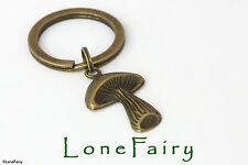 Bronze Mushroom Toadstool Metal Keyring Steampunk Key Chain Nature Alice