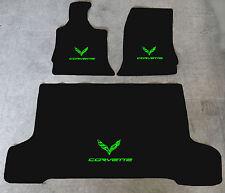 Autoteppich Kofferraum Set für Corvette C7 Coupe neongrün 3teilig Velours Nubuk